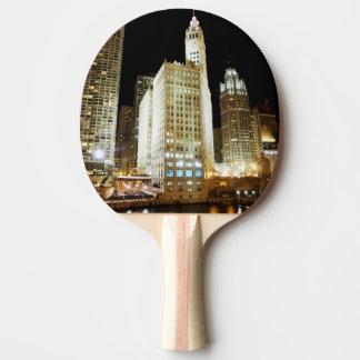 Chicago famous landmark at night ping pong paddle