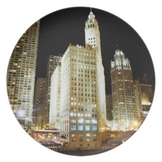 Chicago famous landmark at night plate