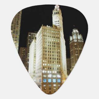 Chicago famous landmark at night plectrum