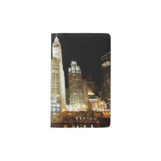 Chicago famous landmark at night pocket moleskine notebook