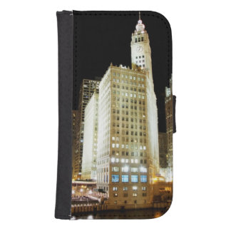 Chicago famous landmark at night samsung s4 wallet case