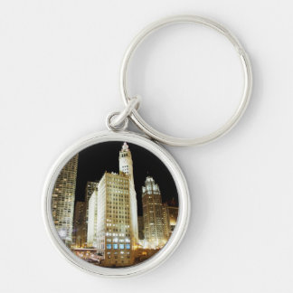 Chicago famous landmark at night Silver-Colored round key ring