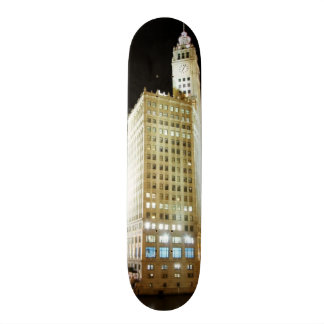 Chicago famous landmark at night skateboard deck