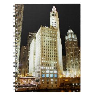 Chicago famous landmark at night spiral notebooks