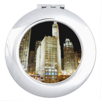 Chicago famous landmark at night vanity mirror