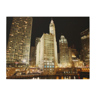 Chicago famous landmark at night wood wall decor