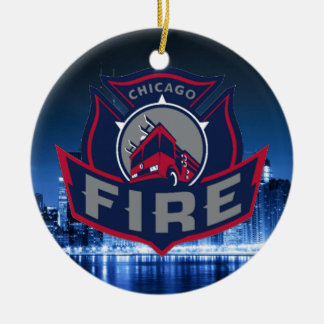 Chicago Fire With Skyline Christmas Ornament