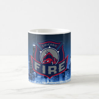 Chicago Fire With Skyline Coffee Mug