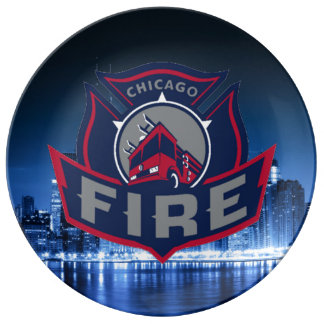 Chicago Fire With Skyline Porcelain Plate
