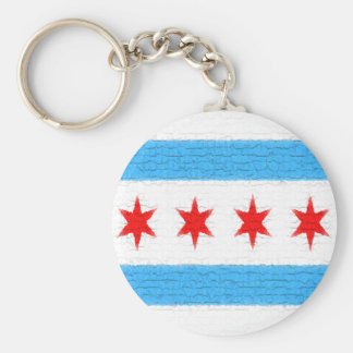 Chicago Flag Basic Round Button Key Ring
