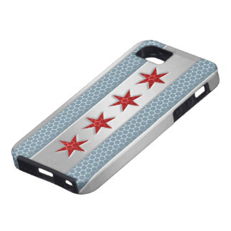 Chicago Flag Brushed Metal Case For The iPhone 5