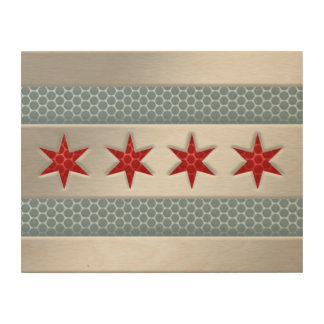 Chicago Flag Brushed Metal Faux Wood Canvases