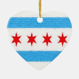 Chicago Flag Ceramic Heart Decoration