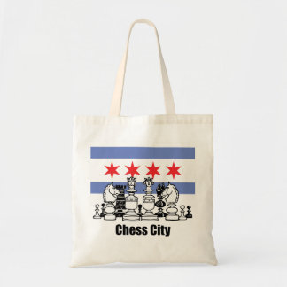 Chicago Flag & Chess Board Budget Tote Bag