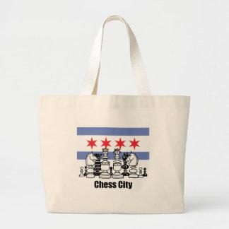 Chicago Flag & Chess Board Jumbo Tote Bag