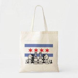 Chicago Flag Chess Budget Tote Bag
