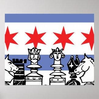 Chicago Flag Chess Poster
