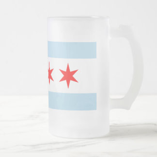 Chicago Flag Frosted Glass Mug