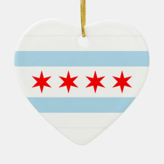 Chicago Flag Heart Christmas Ornament