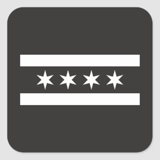 Chicago Flag in Black & White Square Sticker
