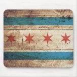 Chicago Flag on Old Wood Grain