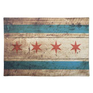 Chicago Flag on Old Wood Grain Placemat