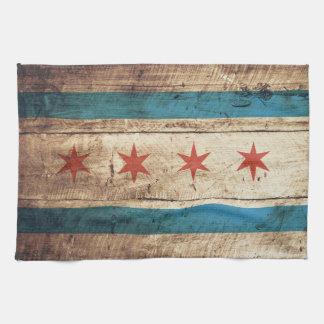 Chicago Flag on Old Wood Grain Tea Towel