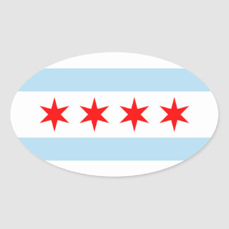Chicago Flag Oval Sticker