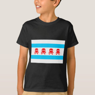 Chicago Flag Skulls Clothing T-Shirt
