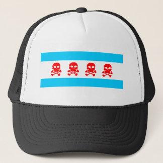 Chicago Flag Skulls Clothing Trucker Hat