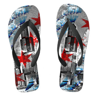 Chicago Flag Skyline Art Flip Flops