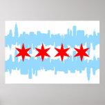 Chicago Flag Skyline Poster