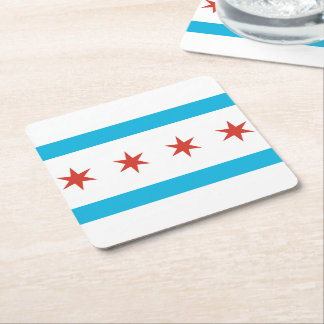 Chicago Flag Square Paper Coaster