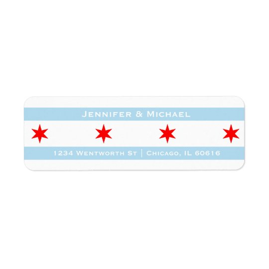 Chicago Flag Template | Red Stars | Blue Stripes