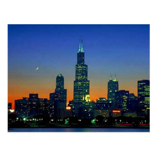 Chicago Framed in Sunset Postcard