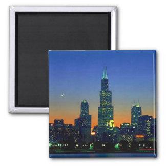 Chicago Framed in Sunset Square Magnet