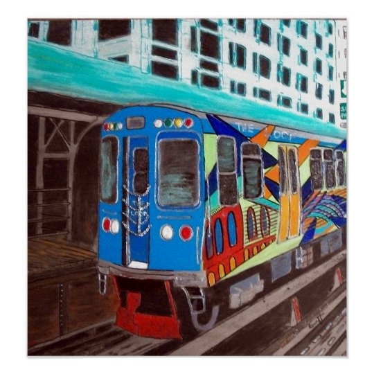 Chicago Grafitti El Train Poster