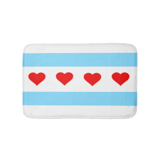 Chicago Heart Flag Bath Mat