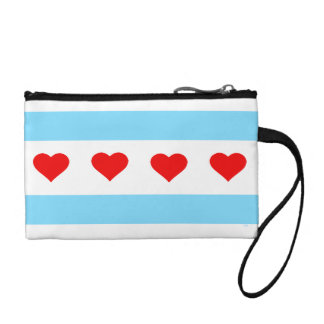 Chicago Heart Flag clutch bag with wrist strap Change Purses