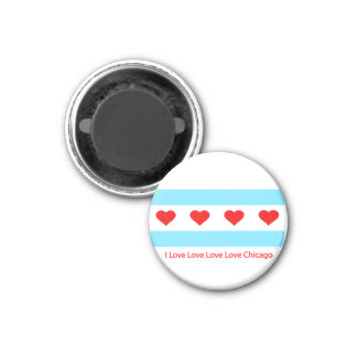 Chicago Heart Flag - I Love x 4 Chi  Round Magnet