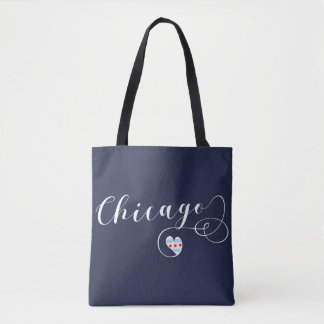 Chicago Heart Grocery Bag, Illinois Tote Bag