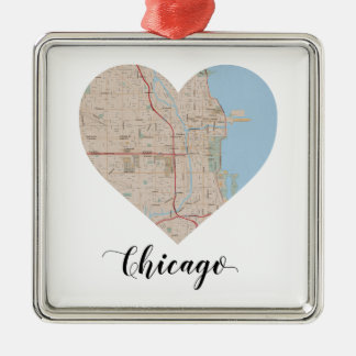 Chicago Heart Map Silver-Colored Square Decoration