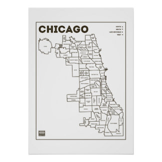 Chicago 'Hoods Map Bold Star Poster