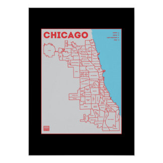 Chicago 'Hoods Map in Color Bold Star Poster