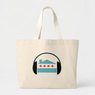 Chicago House Flag Headphones Jumbo Tote Bag
