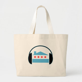 Chicago House Flag Headphones Large Tote Bag