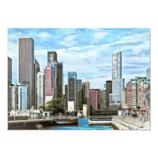 """Chicago IL - Chicago Harbor Lock 5"""" X 7"""" Invitation Card"""