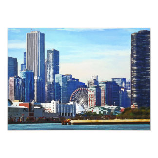 Chicago IL - Chicago Skyline and Navy Pier Card