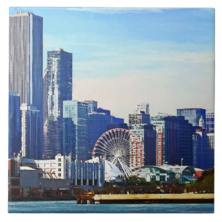 Chicago IL - Chicago Skyline and Navy Pier Large Square Tile