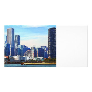 Chicago IL - Chicago Skyline and Navy Pier Photo Greeting Card